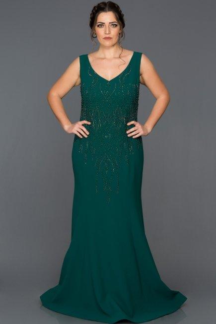 Long Emerald Green Plus Size Evening Dress Abu062 Abiyefon