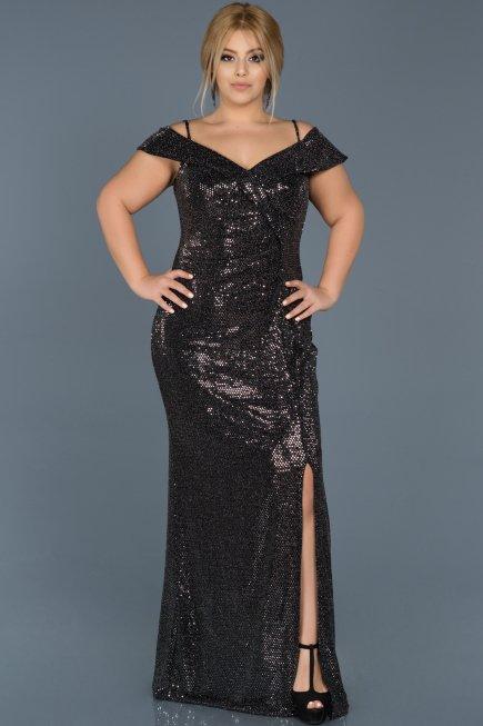 e14029f2ddf1 Long Black-Silver Oversized Evening Dress ABU537 | Abiyefon.com